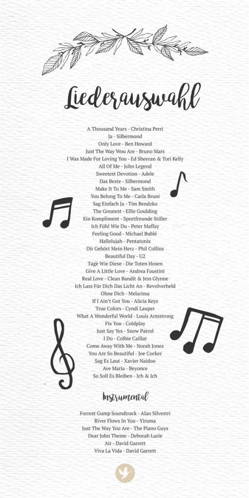 Liste mit Musiktiteln für die Trauzeremonie
